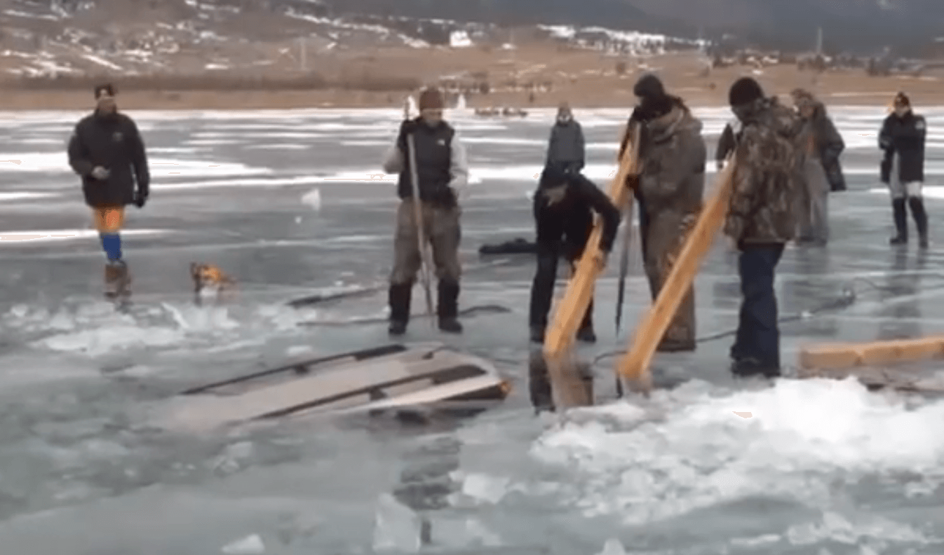 Car Stuck in Frozen Lake