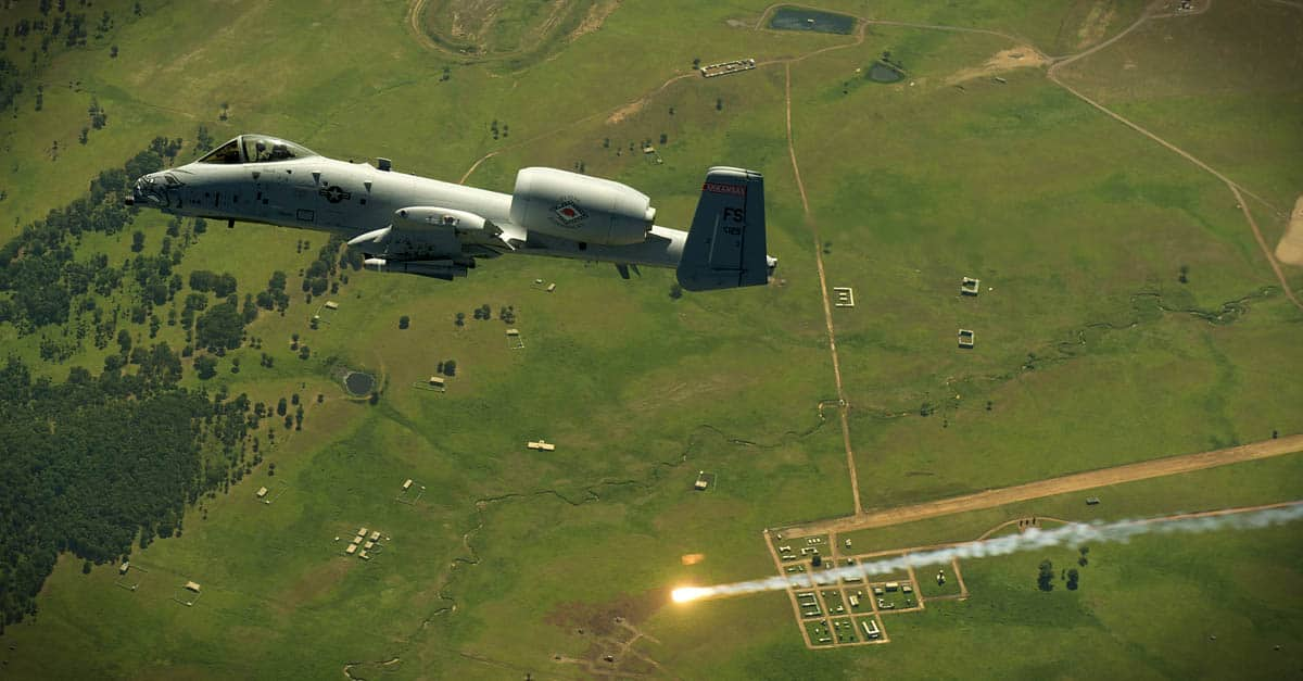 A-10-pilot fires off a flare while diving into a high-angle firing position during a training exercise