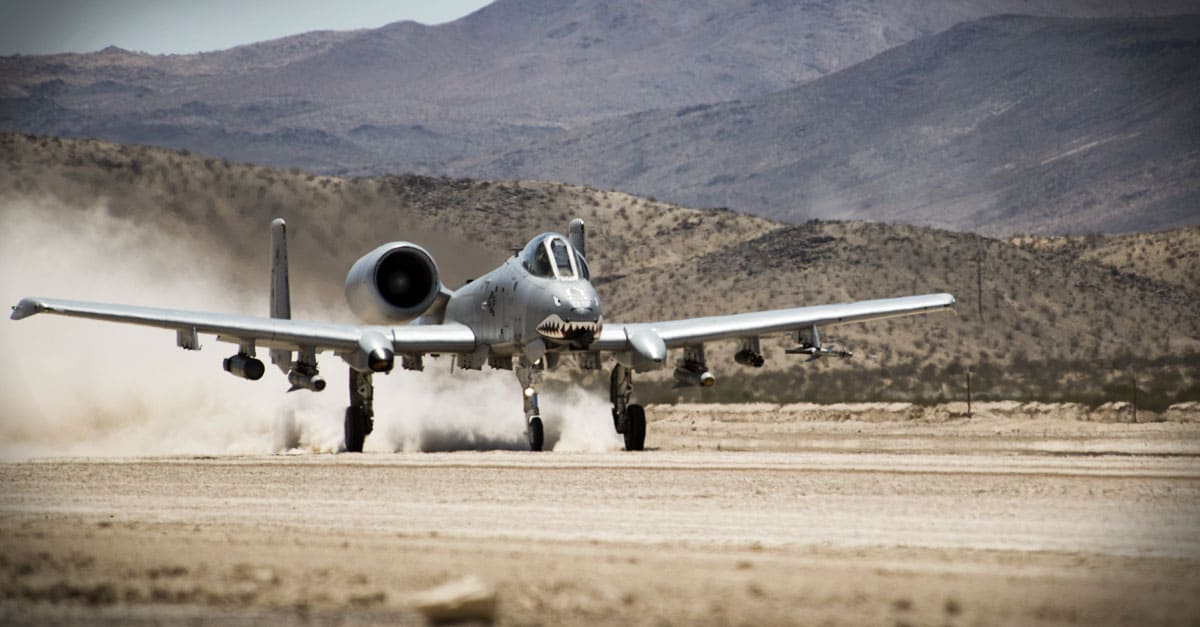 A-10_An A-10 Thunderbolt II departs from the National Training Center at Fort Irwin, Calif.