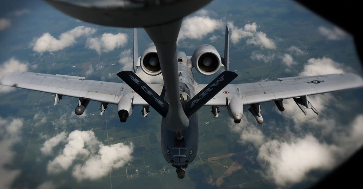 A-10_An A-10 refuels from a KC-135R-Tech. Sgt. Mark R. W. Orders