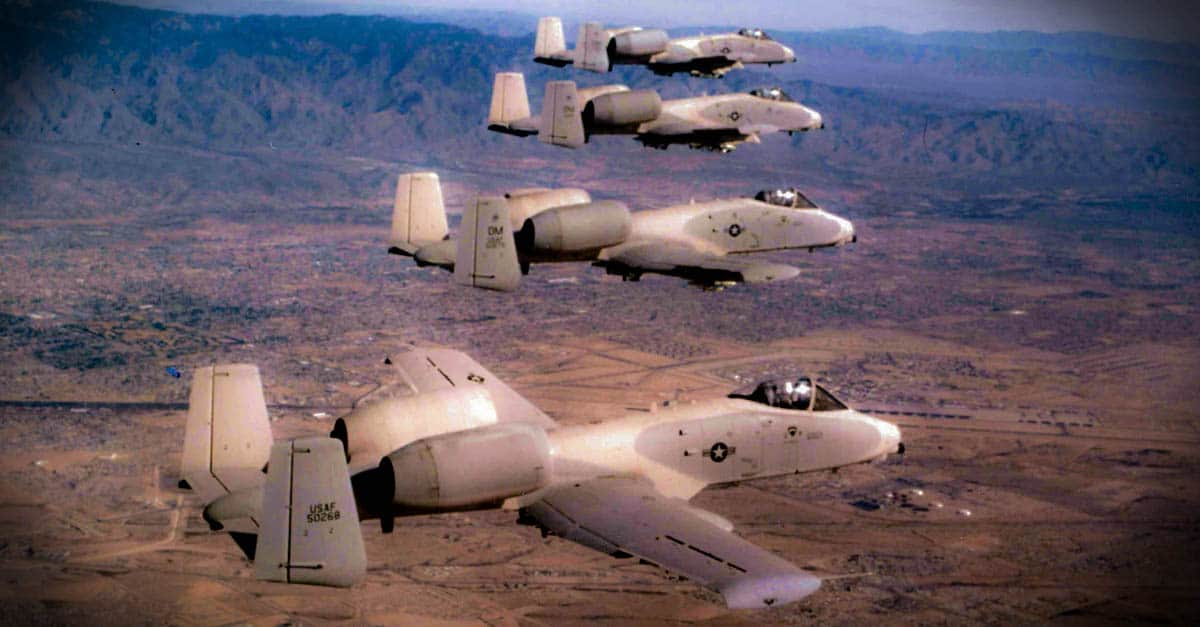 A-10_Formation of Fairchild Republic A-10As-1977