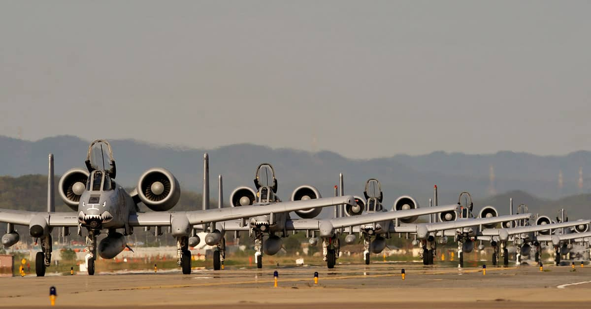 A-10_Nine A-10C Thunderbolt II aircraft at Osan Air Base