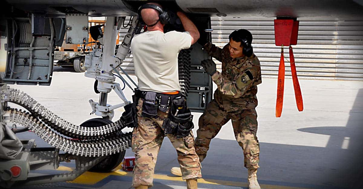 A-10_weapons loader Airmen reload the 30mm gun on an A-10