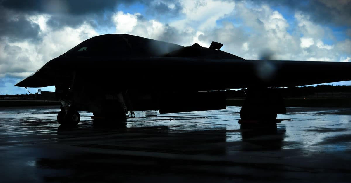 A B-2_awaits clearance to taxi onto the flightline, at Andersen Air Force Base