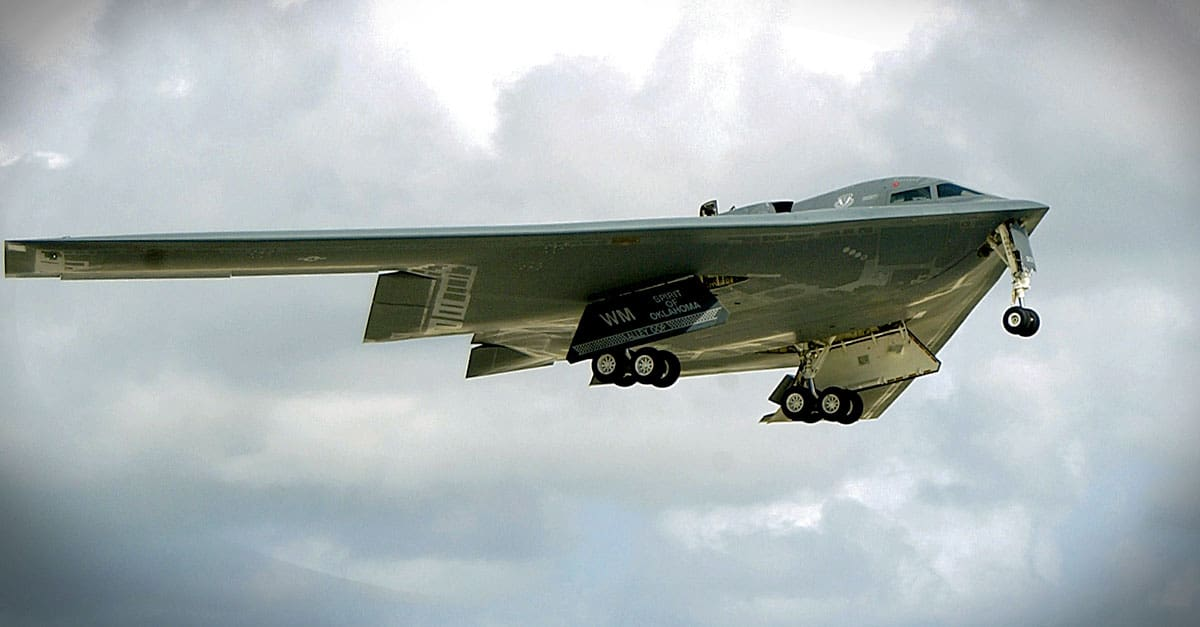 B-2-A B-2 Spirit stealth bomber takes off over Andersen Air Force Base