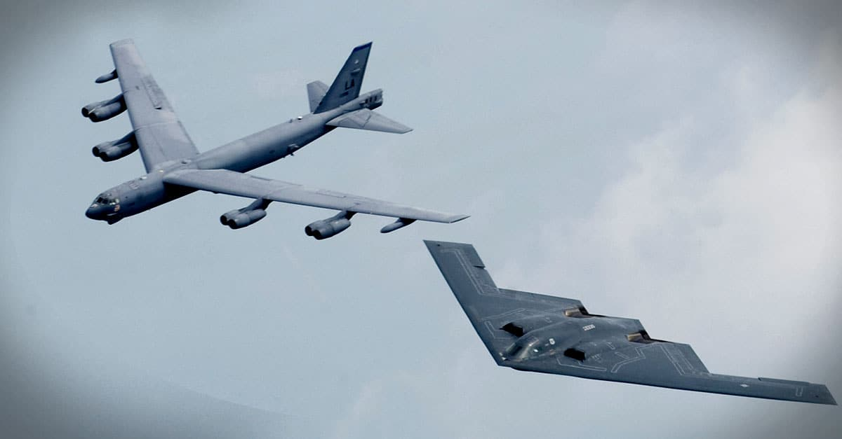 B-2-A B-2 and B-52 fly in formation