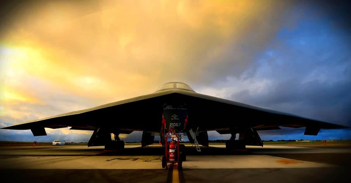 B-2- B-2 deployed from Whiteman Air Force Base, Mo., sits on the parkway