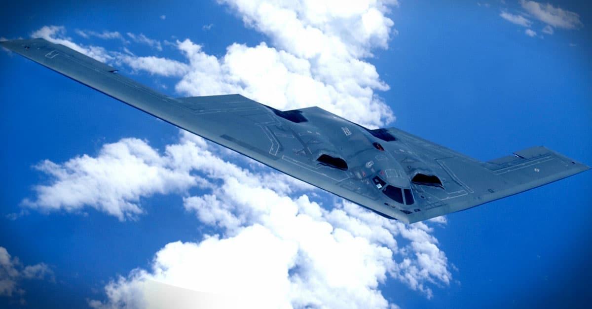B-2_ A B-2 Spirit soars through the sky over Pacific Ocean