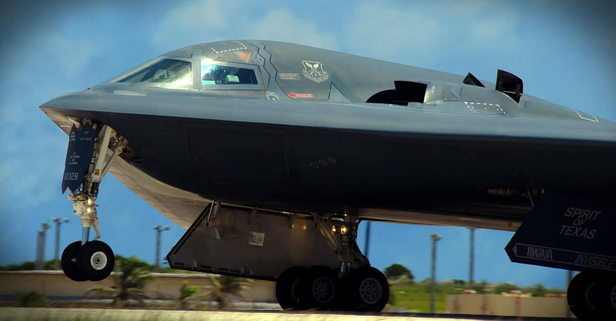 B-2_ A B-2 launches from the runway at Andersen Air Force Base