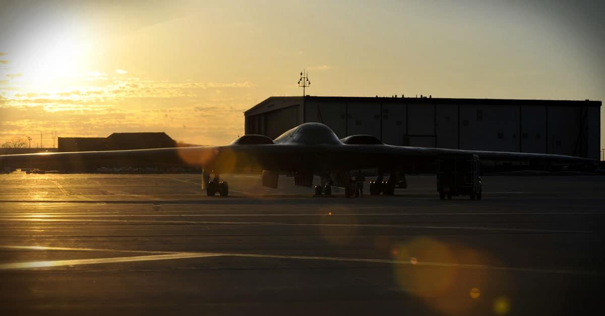 B-2_ B-2 awaits a post-flight inspection