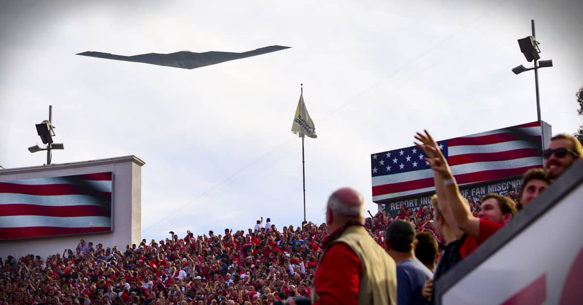 B-2_ B-2 opens the 104th Rose Bowl with a flyover in Pasadena, Calif