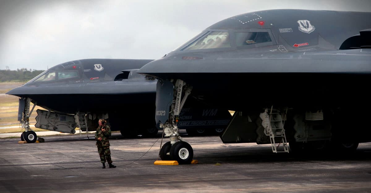 B-2_ a B-2 Spirit bomber during a mission at Andersen Air Force Base, Guam