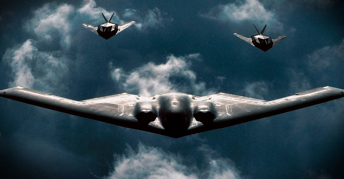 B-2_A B-2 Spirit bomber is followed by two F-117 Nighthawks during a mission