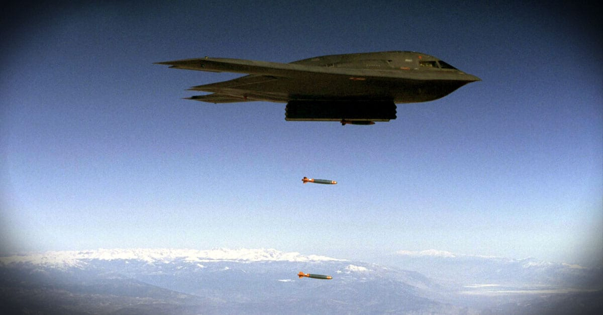 B-2_A B-2 Spirit drops Joint Direct Attack Munitions separation test