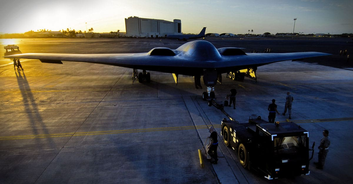 B-2_A B-2 Spirit is towed to a parking spot at Hickam Air Force Base