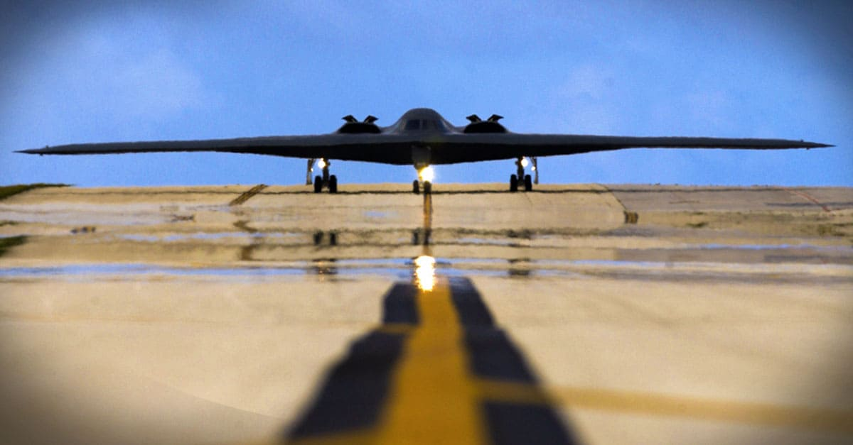 B-2_A B-2 Spirit taxis down the flightline April 25 at Andersen Air Force Base