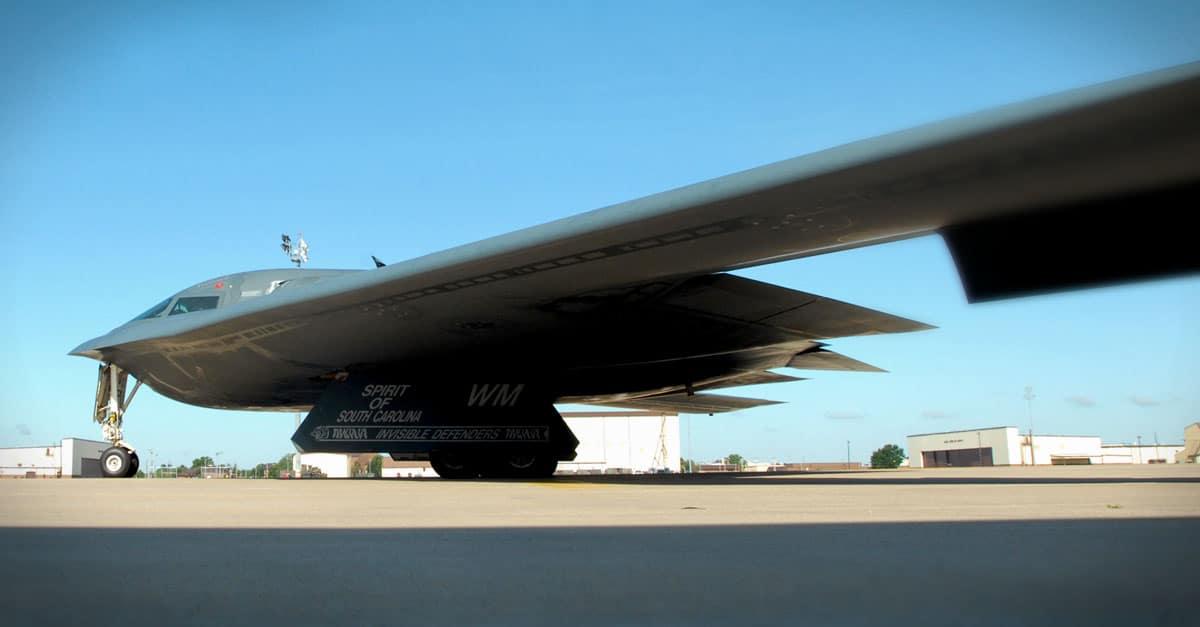 B-2_A B-2 Spirit taxis down the flightline at Whiteman Air Force Base