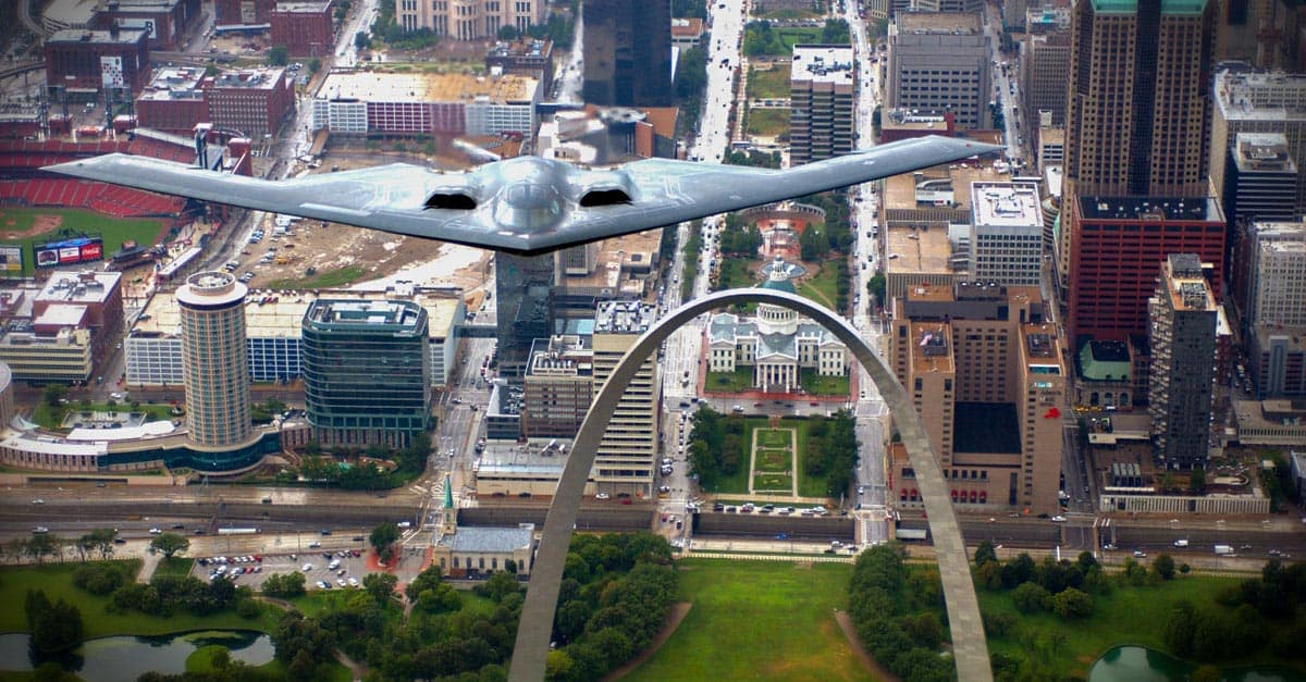 B-2_A B-2 Stealth bomber flies over the St. Louis Arch