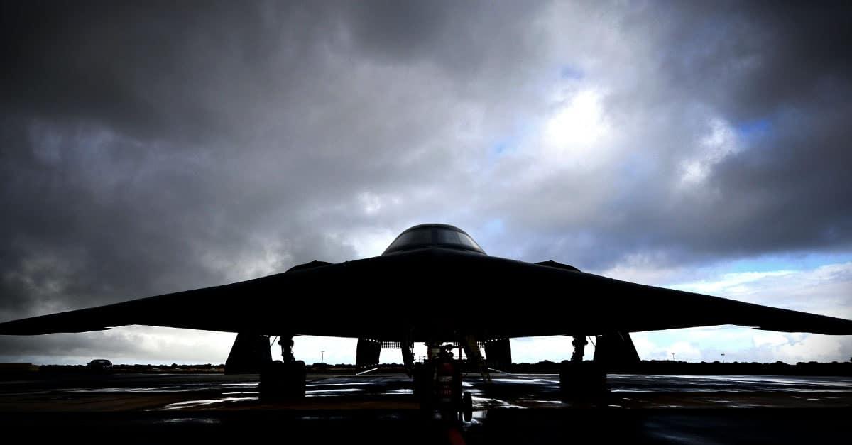 B-2_A U.S. Air Force B-2 Spirit aircraft deployed from Whiteman Air Force Base