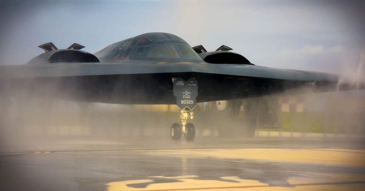 B-2_A U.S. Air Force B-2 Spirit deployed from Whiteman Air Force Base