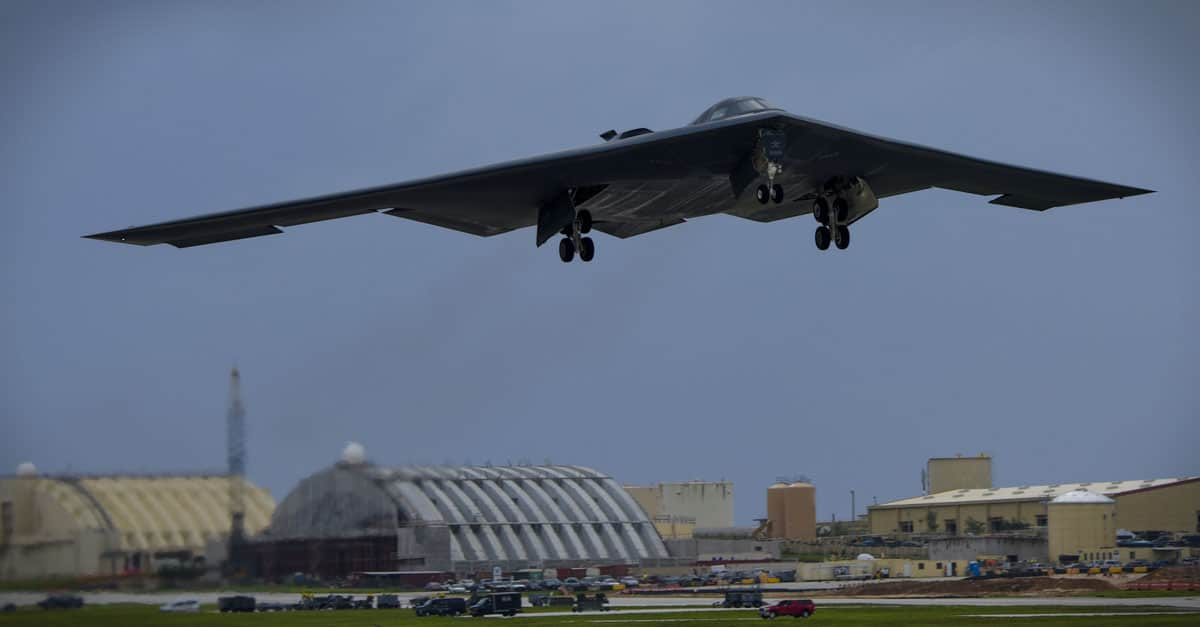 B-2_A U.S. Air Force B-2 Spirit takes off at Andersen Air Force Base, Guam, for an integrated bomber operation