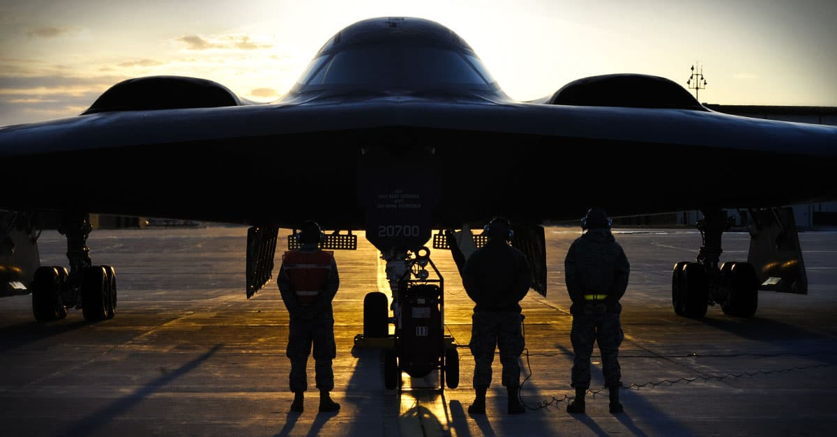 B-2_Air Force B-2 Spirit crew chiefs stand ready to perform maintenance on the plane