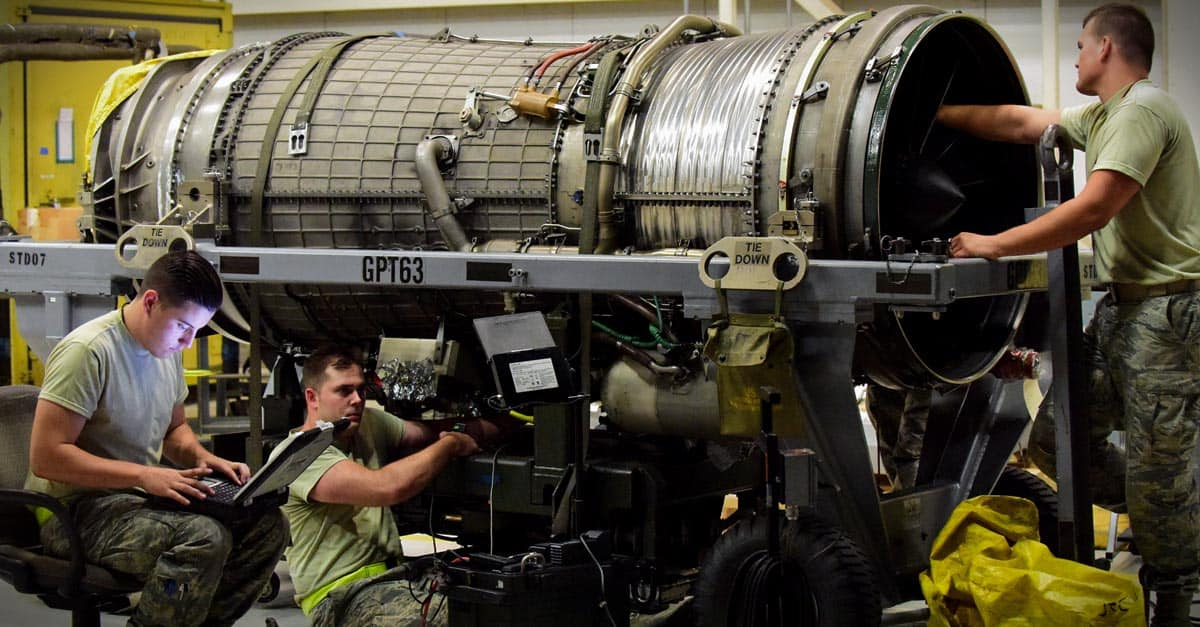 B-2_Aircraft propulsion system specialist with the 509th Aircraft Maintenance Squadron inspect the interior of a B-2 Spirit engine