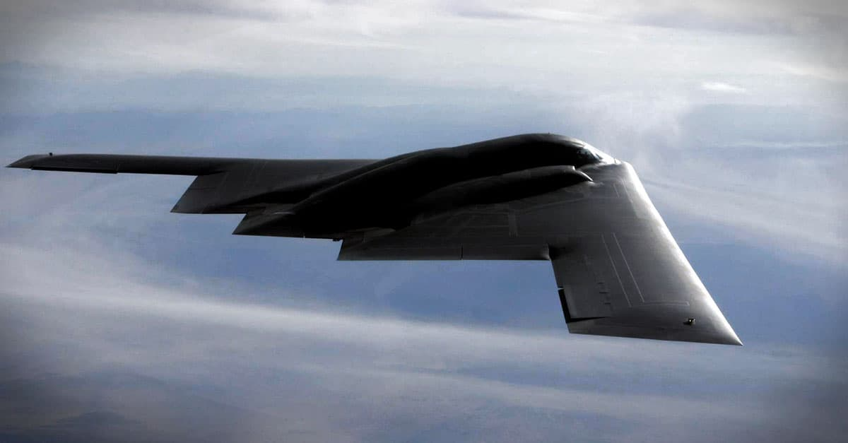 B-2_B-2 Spirit is a multi-role bomber capable of delivering both conventional and nuclear munitions