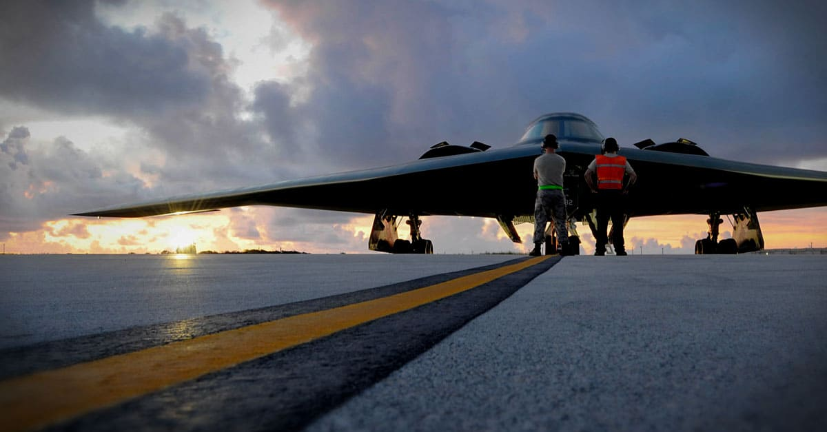 B-2_Crew chiefs assigned to prepare to launch a B-2 Spirit at Andersen Air Force Base