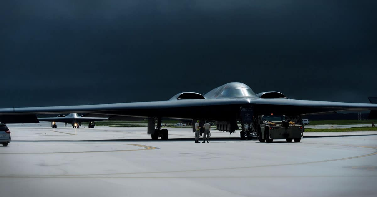 B-2_Multiple B-2 Spirits land for aircraft recovery as storm clouds gather