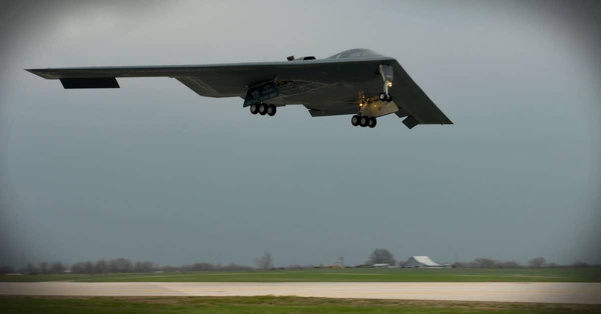 B-2_The B-2 nicknamed Spirit of Missouri flown by Maj. Matthew Calhoun and Capt. Jared Kennish for a training mission