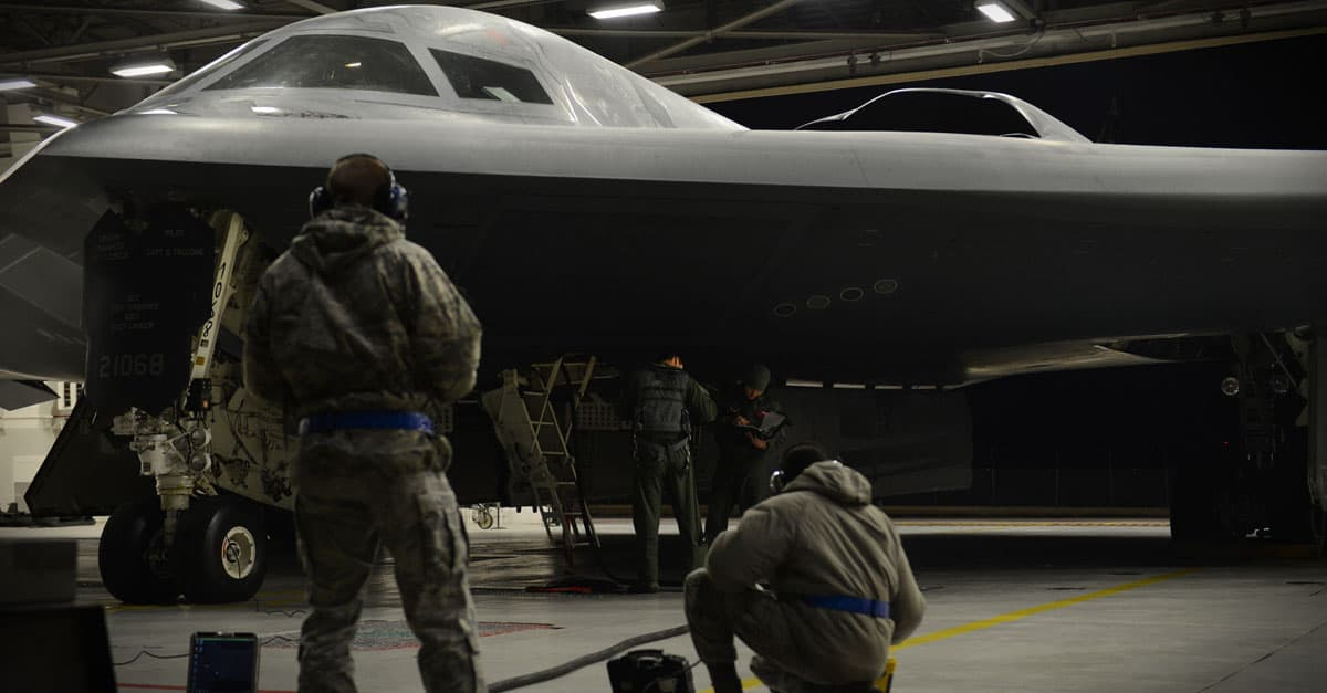 B-2_U.S. Airmen from the 509th Bomb Wing prepare B-2 Spirit stealth bombers for air operations