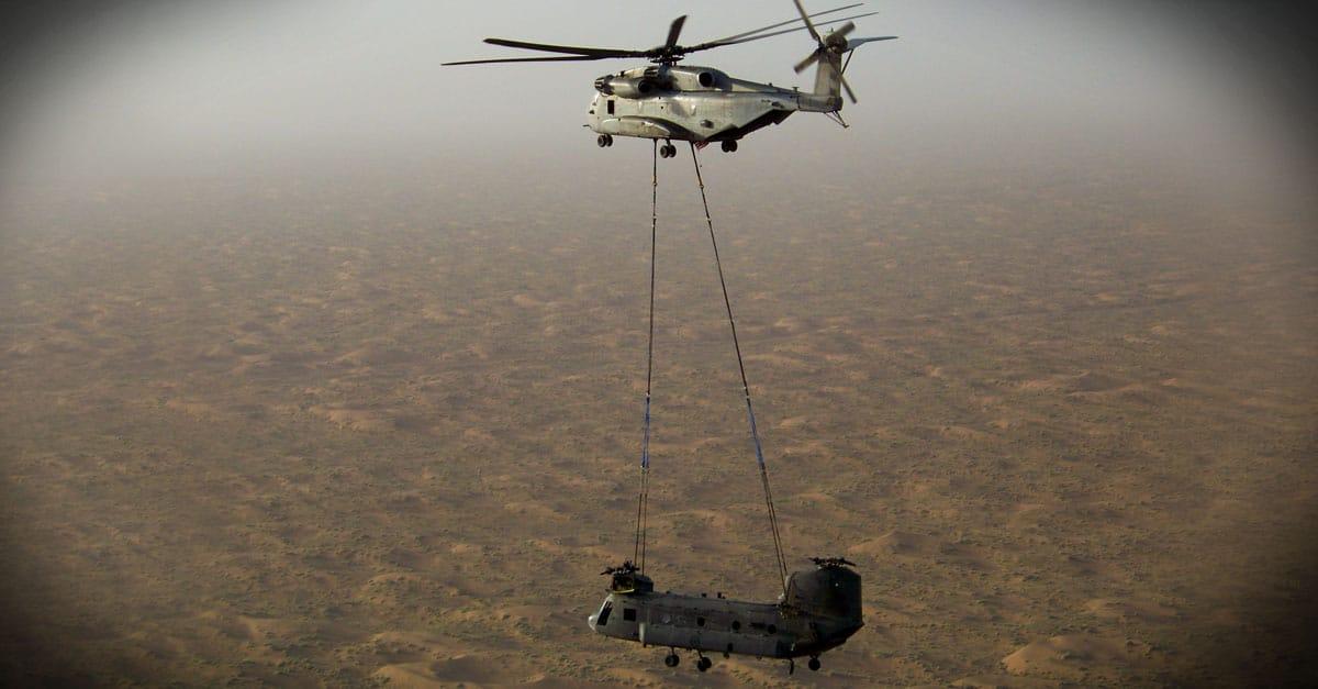 H-53E_A CH-53E Super Stallion transports a Canadian Forces CH-47