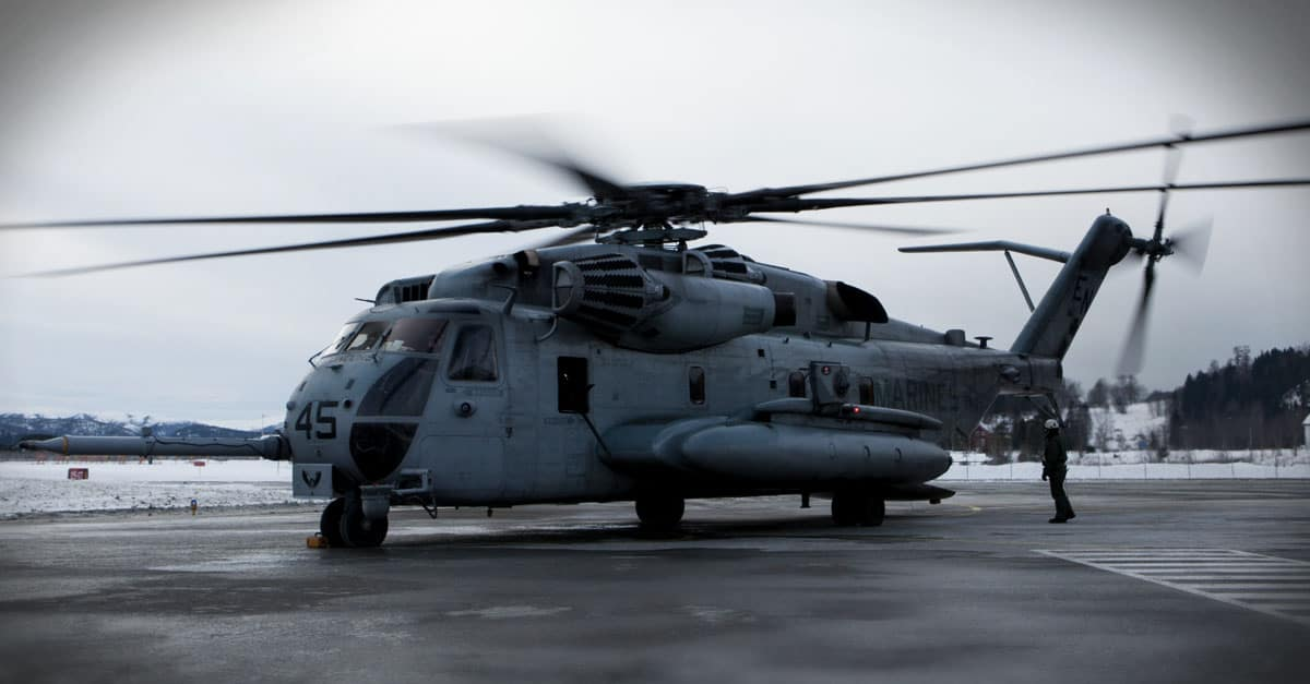 CH-53E_A CH-53E with Marine Heavy Helicopter Squadron (HMH-464) taxis on an airfield as part of Cold Response 16