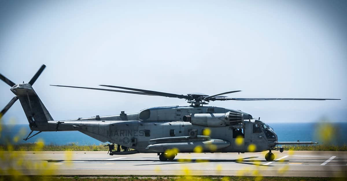 CH-53E_A CH53E super stallion helicopter sits on a landing zone before conducting a helicopter support exercise