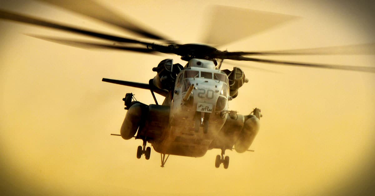 CH-53E_A U.S. Marine Corps CH-53 Super Stallion helicopter lands at Camp Al-Galail, Qatar
