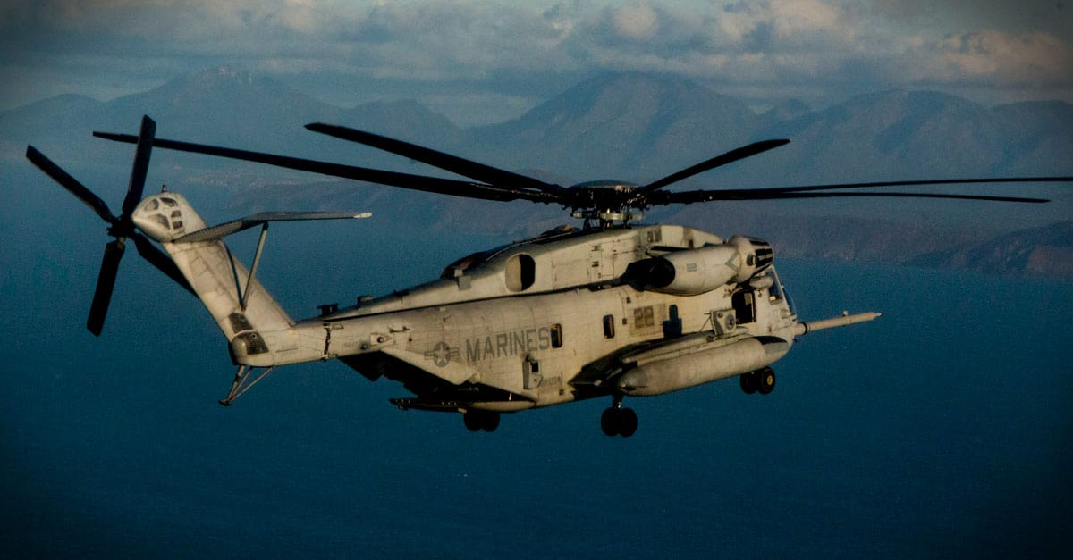 CH-53E_CH-53E flies over the Pacific Ocean during helocast training as part of Talisman Saber